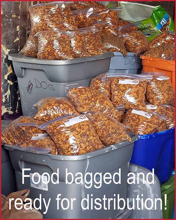 Rebagged food ready for distribution.
